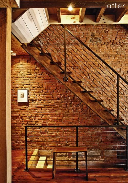 Modern Steel Railing Exposed Brick
